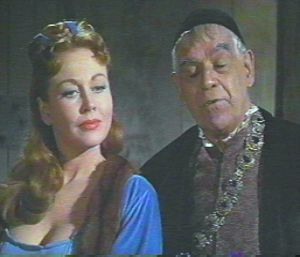 Hazel Court and Boris Karloff in The Raven