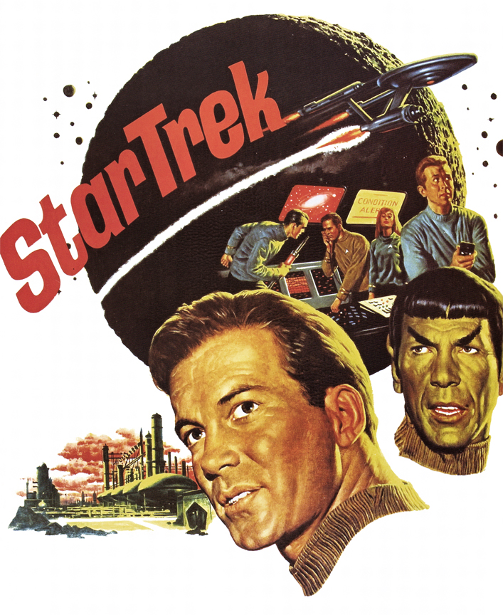 Artwork by James Bama, 1966. Promotional poster from NBC for the premiere of Star Trek.