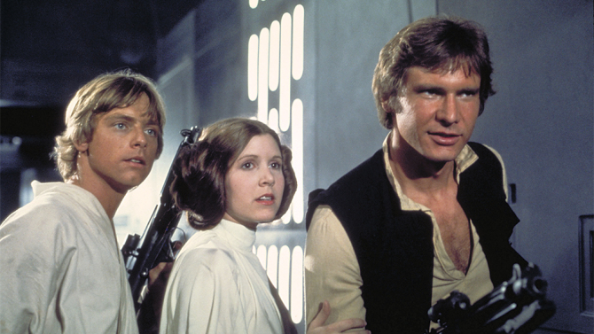 "Mark Hamill, Carrie Fisher and Harrison Ford in ""Star Wars"""