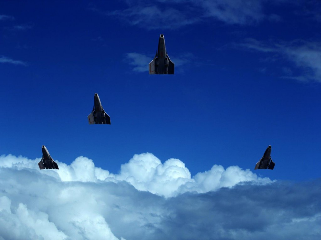 "Vipers flying the ""missing man"" formation, by Richard Dyke"